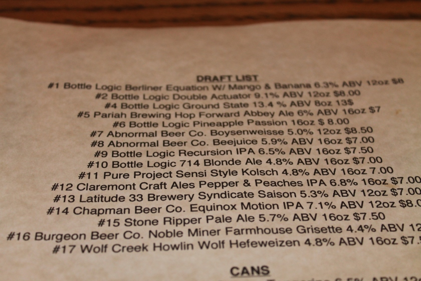 B&B beer list