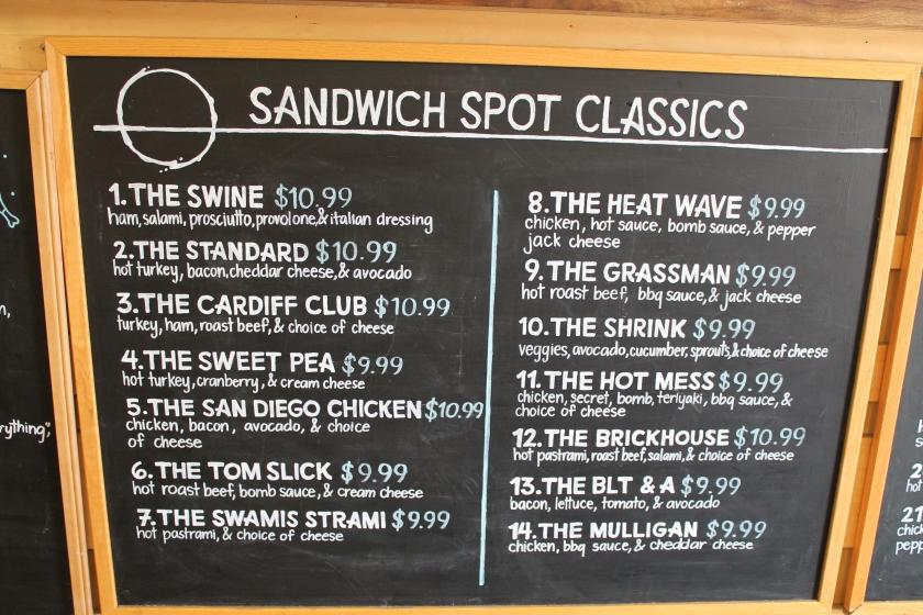 Sandwhich Spot menu