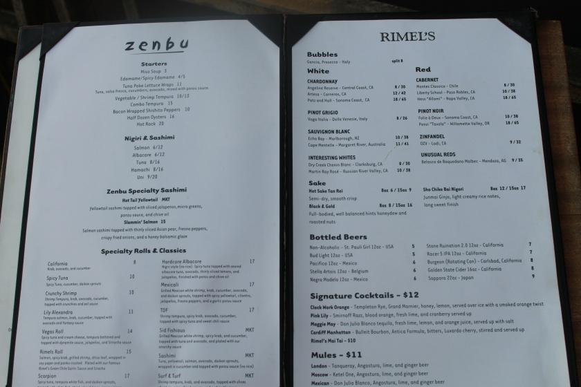 Rimel's menu