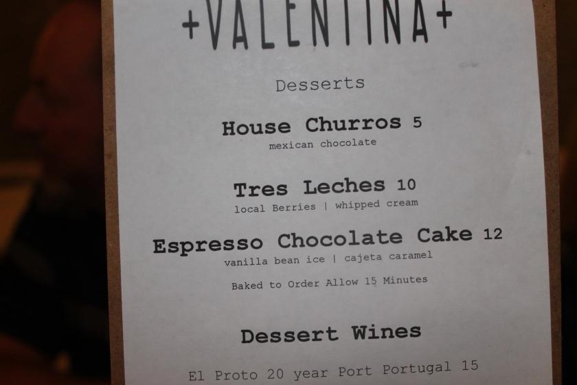 Valentina dessert menu