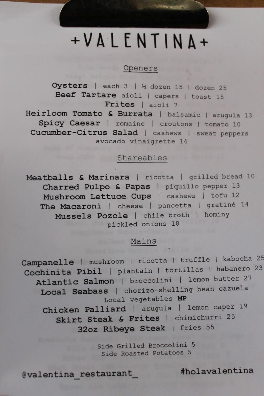Valentina menu