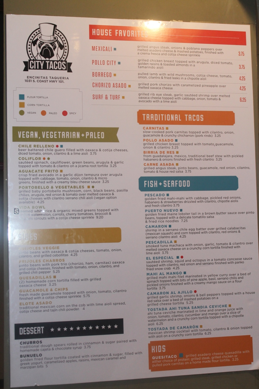 City Tacos menu